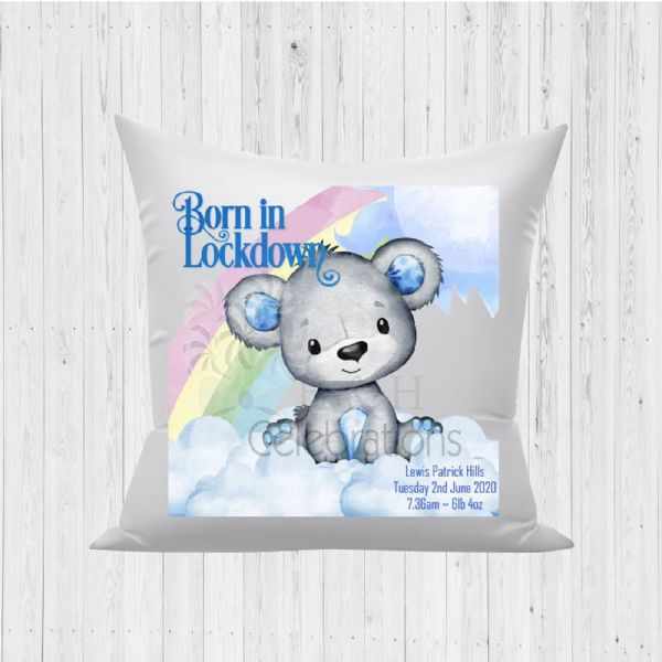 Born In Lockdown Rainbow Bear Blue Baby Birth Stats Cushion
